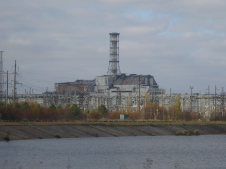 Abandoned Chernobyl reactor and sarcophagus
