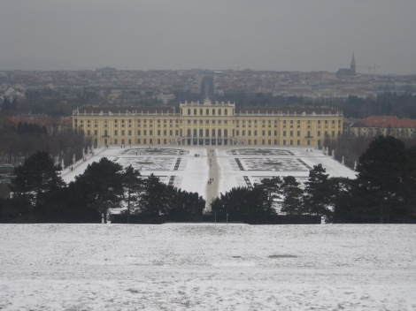 Schönnbrunn Palace in winter with snow