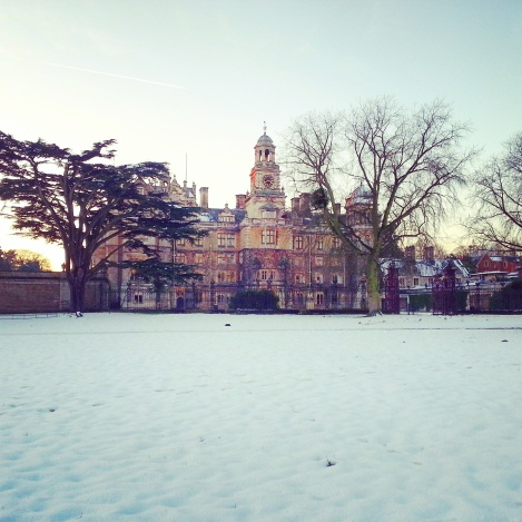 Thoresby Hall in the snow
