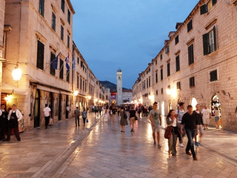 Stradun - the main street of the walled city - at night