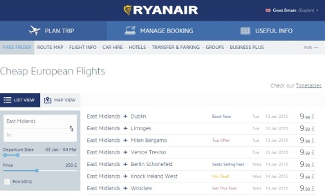 Ryanair Fare Finder